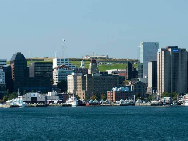 The downtown and waterfront area of Halifax, Nova Scotia with Citadel Hill visible in the background.