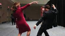 Screen capture of animated .gif showing Justin Trudeau dancing with his wife Sophie Grégoire.