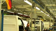 Workers at Ludwigsfelde Daimler-Mercedes plant. (Doug Saunders/The Globe and Mail)