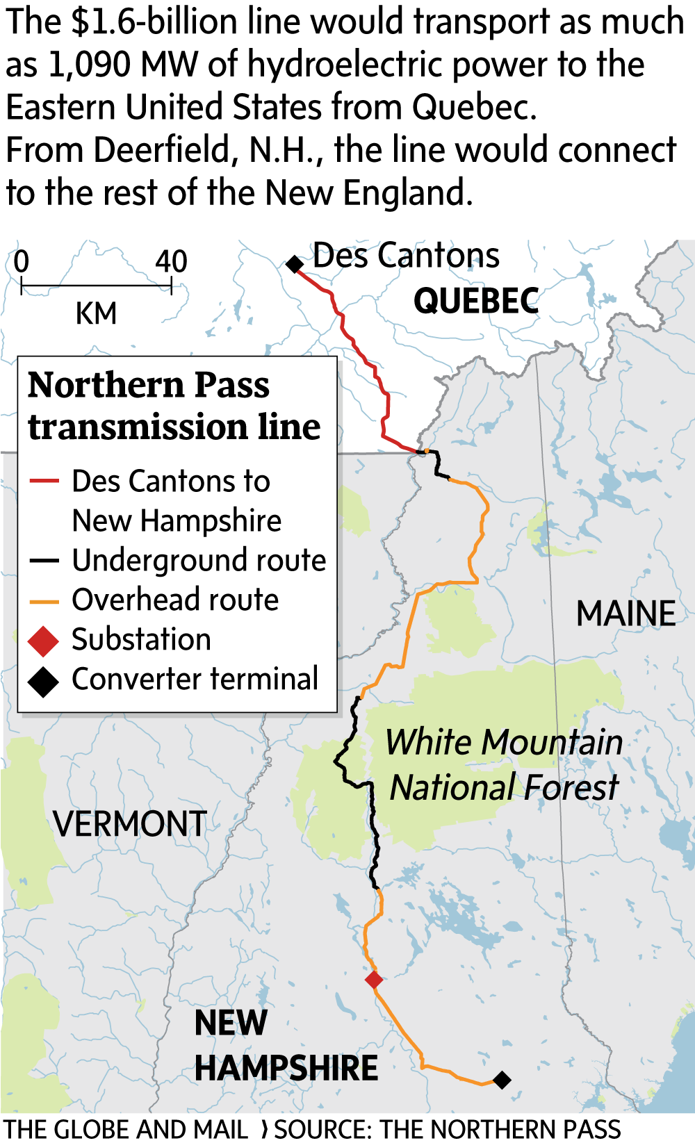 Map Of New England And Quebec.New England Lobby Group Attacks Bid By Hydro Quebec To Sell Power In