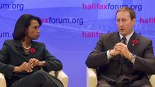 Condoleezza Rice, left, a Stanford University professor and former U.S. secretary of state, listens as Defence Minister Peter MacKay fields a question at the Halifax International Security Forum in Halifax on Saturday, Nov. 6, 2010. (Andrew Vaughan/The Canadian Press/Andrew Vaughan/The Canadian Press)