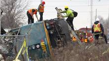 The VIA locomotive is all that is left to be removed from the derailment scene in Burlington on Feb. 28, 2012. (Peter Power/Peter Power/The Globe and Mail)