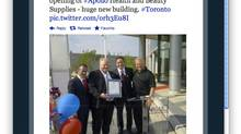 Mayor Rob Ford and Councillor Doug Ford are seen with Apollo owners Richard and Charles Wachsberg at cosmetics firm's grand opening