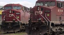 Canadian Pacific locomotives sit in a rail yard in Montreal in this file photo (Ryan Remiorz/THE CANADIAN PRESS)