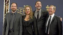From left, Ken Scott, Julie Breton, Martin Petit and Ryan Ward at the Genies in Toronto, March 8, 2012. Scott and Petit have been honoured by Telefilm Canada for the film 'Starbuck.' (Chris Young / CP)