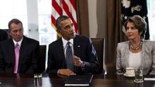 President Barack Obama, center, with House Speaker John Boehner (R-Ohio), left, and House Minority Leader Nancy Pelosi (D-Calif.) in the Cabinet Room at the White House in Washington, Sept. 3, 2013. Obama intensified his push for Congressional approval of an attack on Syria on Tuesday, meeting Republican and Democratic leaders. (CHRISTOPHER GREGORY/NYT)