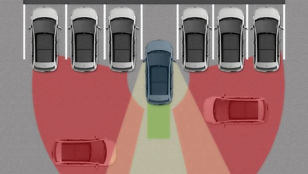 Cross Traffic Alert warns the driver of impending traffic while backing out of a parking spot.