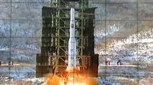 A screen at the General Satellite Control and Command Center shows the moment North Korea's Unha-3 rocket is launched in Pyongyang, North Korea, Wednesday, Dec. 12, 2012. AP Photo  (AP)