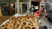 A tray with butter tarts can be seen at the kitchen of Kenilworth Country Kitchen while Katie Goetz cooks at the historic restaurant in Arthur, Ontario July 05 2013. (Fernando Morales/The Globe and Mail)