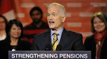 New Democratic Party leader Jack Layton speaks to supporters at a campaign stop in Toronto on April 4, 2011. (MIKE CASSESE/MIKE CASSESE/REUTERS)