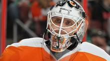 Goaltender Ilya Bryzgalov of the Philadelphia Flyers has said sorry for his remarks earlier this year about the city of Winnipeg. (Photo by Jim McIsaac/Getty Images) (Jim McIsaac/Getty Images)