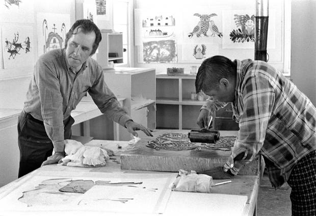 Terry Ryan and Eegyvudluk Pootoogook in the Cape Dorset stone cutting studio in 1975.