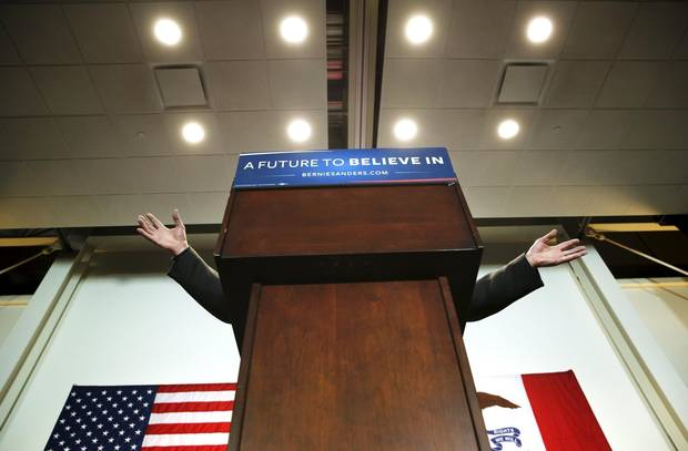 U.S. Democratic presidential candidate Bernie Sanders speaks during a campaign rally at the Des Moines Area Community College in Ankeny, Iowa, on Jan. 10.