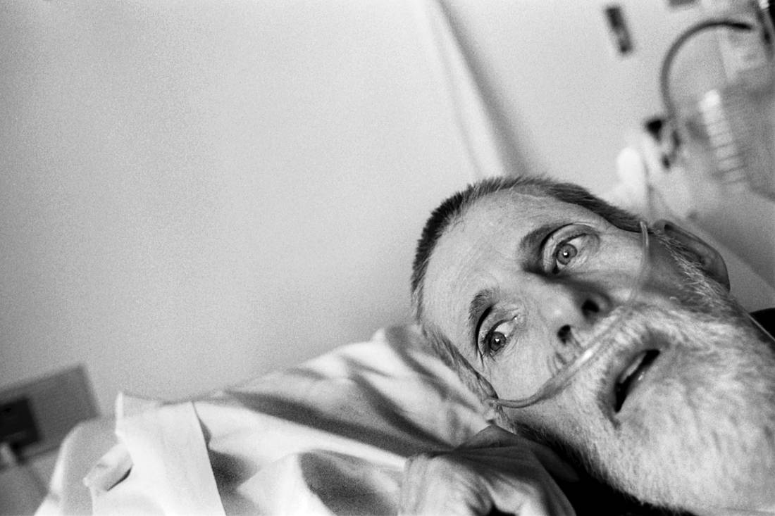 "In his final days Blayne Kinart lies in his bed breathing with the aid of a respirator in a hospital's palliative care unit. The 58-year-old former chemical worker died July 6, 2004 from Mesothelioma, a cancer associated with asbestos exposure in Sarnia, Ontario. Residents of the area have nicknamed Sarnia ""Chemical Valley"", due to the large number of chemical plants operating in the area."