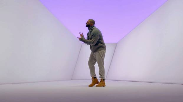 In the viral video clip for his song Hotline Bling, Drake wears a variety of normcore outfits including a sweater from fashion brand Acne Studios and pieces from his own streetwear label, OVO.