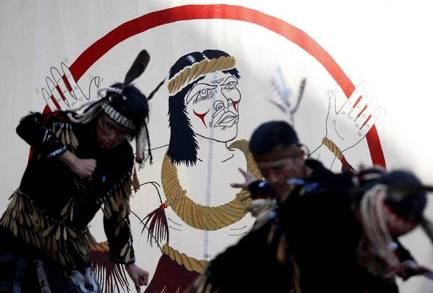 Tzinquaw dancers from the Cowichan Tribe perform during the Aboriginal Cultural Festival, a three-day outdoor event to celebrate the diversity of Aboriginal cultures in B.C. and honour the treaties of Esquimalt and Songhees Nations in Victoria in June, 2014.
