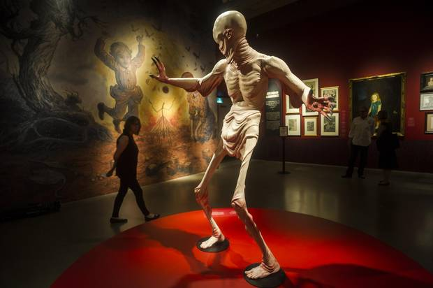 A life-sized representation of the Pale Man, from Guillermo del Toro's seminal film Pan's Labyrinth, is the first statue to welcome guests who visit the exhibition celebrating the director at the Art Gallery of Ontario in Toronto.