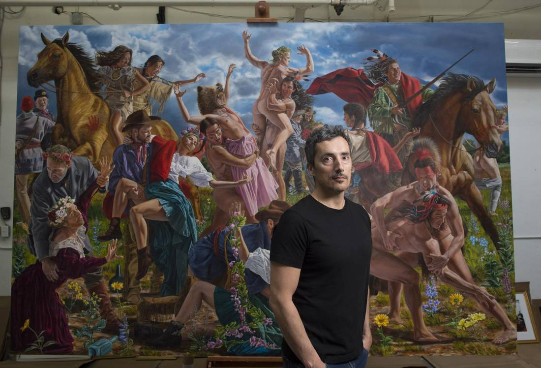 Cree artist Kent Monkman, seen in his Toronto studio in June, 2016.