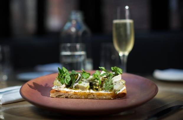 Fromage blanc tartine with a glass of champagne.