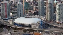 An aerial view of GM Place against the downtown skyline. (Handout/ The Globe and Mail/Handout/ The Globe and Mail)