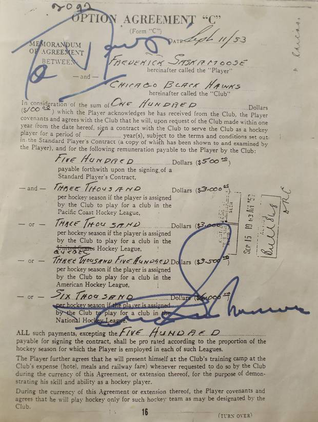 Fred Sasakamoose's first NHL contract.