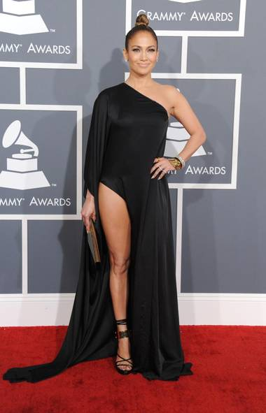Jennifer Lopez's outfit was one of the more daring of the evening at the Grammy Awards in Los Angeles on Sunday. (Jordan Strauss/AP)