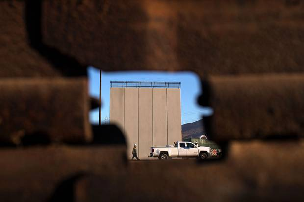 One of the prototypes for the Trump administration's wall, as seen from across the border in Tijuana, Mexico.