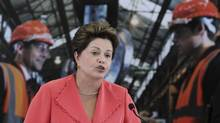 Brazil's President Dilma Rousseff speaks during a ceremony to announce a package of benefits for the electricity sector in Brasilia Sept. 11, 2012. (UESLEI MARCELINO/REUTERS)