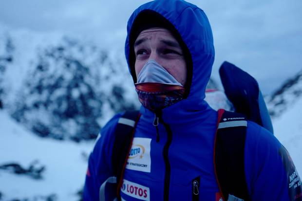 Polish mountaineer Adam Bielecki looks on after a training at the Piec Stawow valley as they prepare for the expedition to scale K2 near Zakopane, Poland on Dec. 12, 2017.
