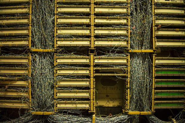 Old copper cabling is seen in a storeroom in the garage of a high-rise residence in Toronto on Sept. 19, 2017.