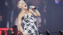 U.S. singer Pink will be performing at the Air Canada Centre in Toronto this weekend. Pictured here at the 2008 European MTV Awards in Liverpool, England, Nov. 6, 2008. (Joel Ryan/AP)