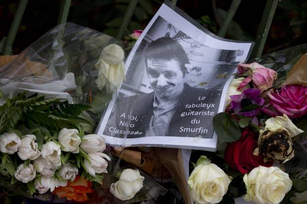A picture of Nicolas Classeau sits on a memorial outside the Bataclan concert hall on Nov. 17, 2015.
