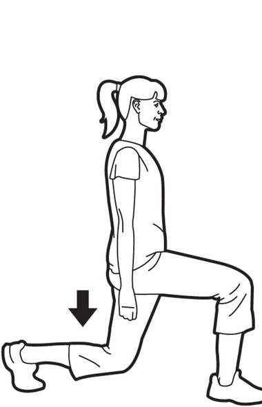 The next time you are doing a household chore, such as bringing dishes to and from the dining room, do a few walking lunges. Feed yourself and work out all at the same time. Take a big step forward with your left leg. Both feet should face forward. Bend both knees so that your back knee lowers towards the ground. Pause at the bottom for three seconds. (Trish McAlaster)