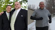 Adam Amirault before and after his 150-pound weight loss. (Handout/Handout)