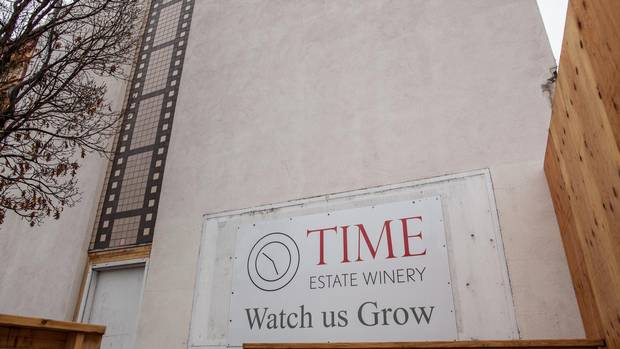 The exterior of Time Estate Winery, located in the old movie theatre in downtown Penticton.