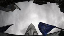 A European Union flag in front of the headquarters of the European Central Bank in Frankfurt, May 6, 2009. (JOHANNES EISELE/REUTERS)