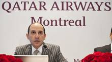 Qatar Airways CEO Akbar Al Baker talks about the company's expansion plans during a press conference in Montreal. (Éric CarriËre/QATAR AIRWAYS)