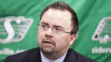 Brendan Taman is announced as the new Saskatchewan Roughriders general manger at a press conference at Mosaic Stadium in Regina, Sask. on Thursday, Jan. 21, 2009. (The Canadian Press)