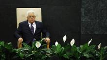 Palestinian President Mahmoud Abbas waits to address the UN General Assembly in New York. (EDUARDO MUNOZ/REUTERS)