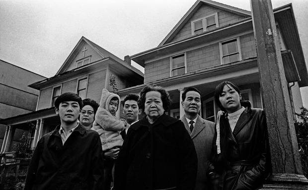 The Chan Family, from left to right: Larry Chan, Mary Chan, Karem Lam, Nick Lam, grandmother Lim Hop Lee, and Walter and Shirley Chan.