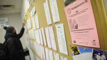 Unemployed youth peruse a jobs board at a resource centre in Toronto (Kevin Van Paassen)