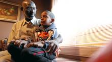 Abousfian Abdelrazik at home in Montreal in September, 2009, playing with his 6-year-old son, Kouteyba. (Tory Zimmerman/The Globe and Mail/Tory Zimmerman/The Globe and Mail)