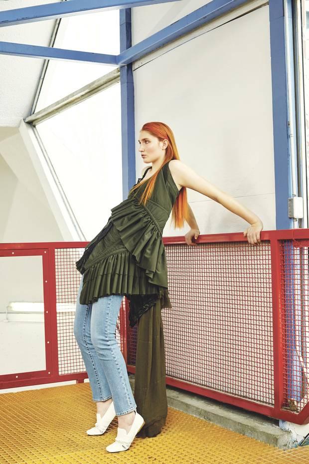 A.F. Vandervorst dress, €2,325 through www.afvandevorst.com. Levi's jeans, $98 through www.levi.ca. Céline shoes, $1,350 at Nordstrom.