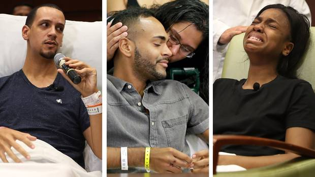 Left to right: Angel Santiago, Angel Colon and Patience Carter speak to the media on Tuesday, two days after surviving the shooting at Pulse nightclub in Orlando.