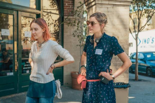 Saoirse Ronan, left, with Gerwig, plays a willful high school senior who insists everyone call her Lady Bird.