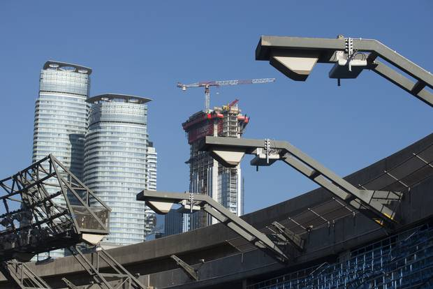 A look at small cells above the nosebleed section of the Rogers Centre.