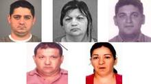 Human trafficking suspects, clockwise from top left: Attila Kolompar, 35; Gizella Domotor, 42; Gyula Domotor, 32; Gizella Kolompar, 41; Lajos Domotor, 42.