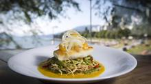 The Cactus Club's halibut dinner cooked in a light saffron cream with an orange fennel salad, local asparagus and freshly unzipped snap peas. (John Lehmann/The Globe and Mail)