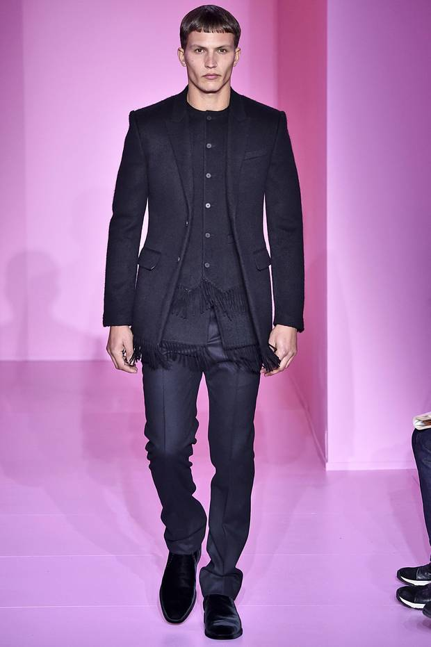 Givenchy: Designer Riccardo Tisci used fringe and a thick navy wool to take the three-piece suit in a new direction.