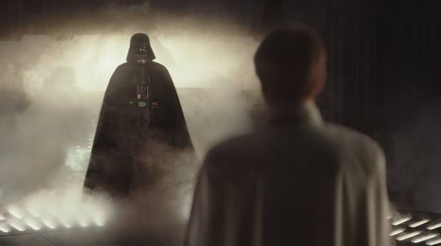 The iconic silhouette of Darth Vader returns in Rogue One: A Star Wars Story.